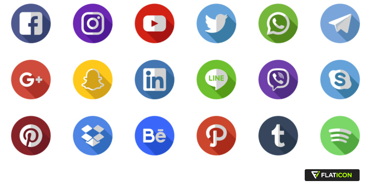 Social media icons, Flaticon